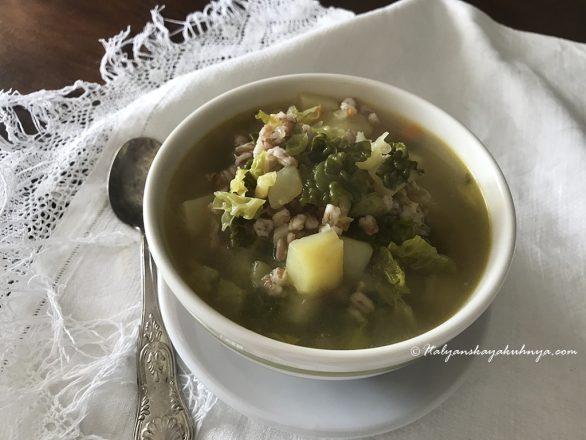 Полбяной суп с капустой и картофелем